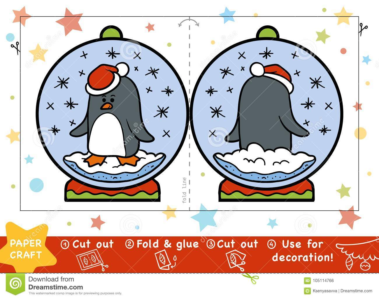 Christmas Paper Crafts For Children Snowball With A Penguin Stock