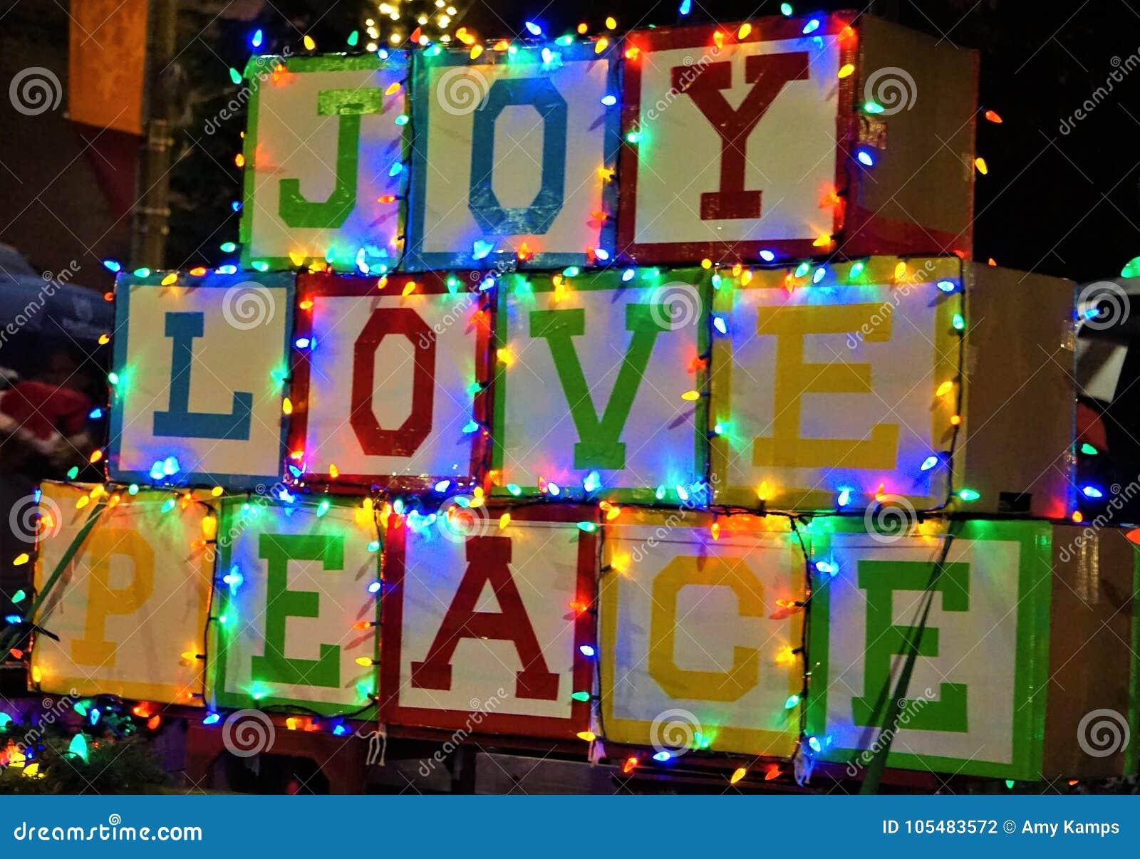 Christmas Parade Float Joy Love Peace Stock Photo - Image of peace ...