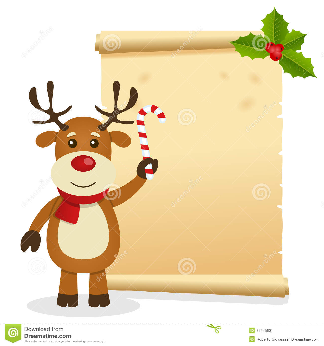 Christmas invitation card with a cute reindeer holding a candy cane ...