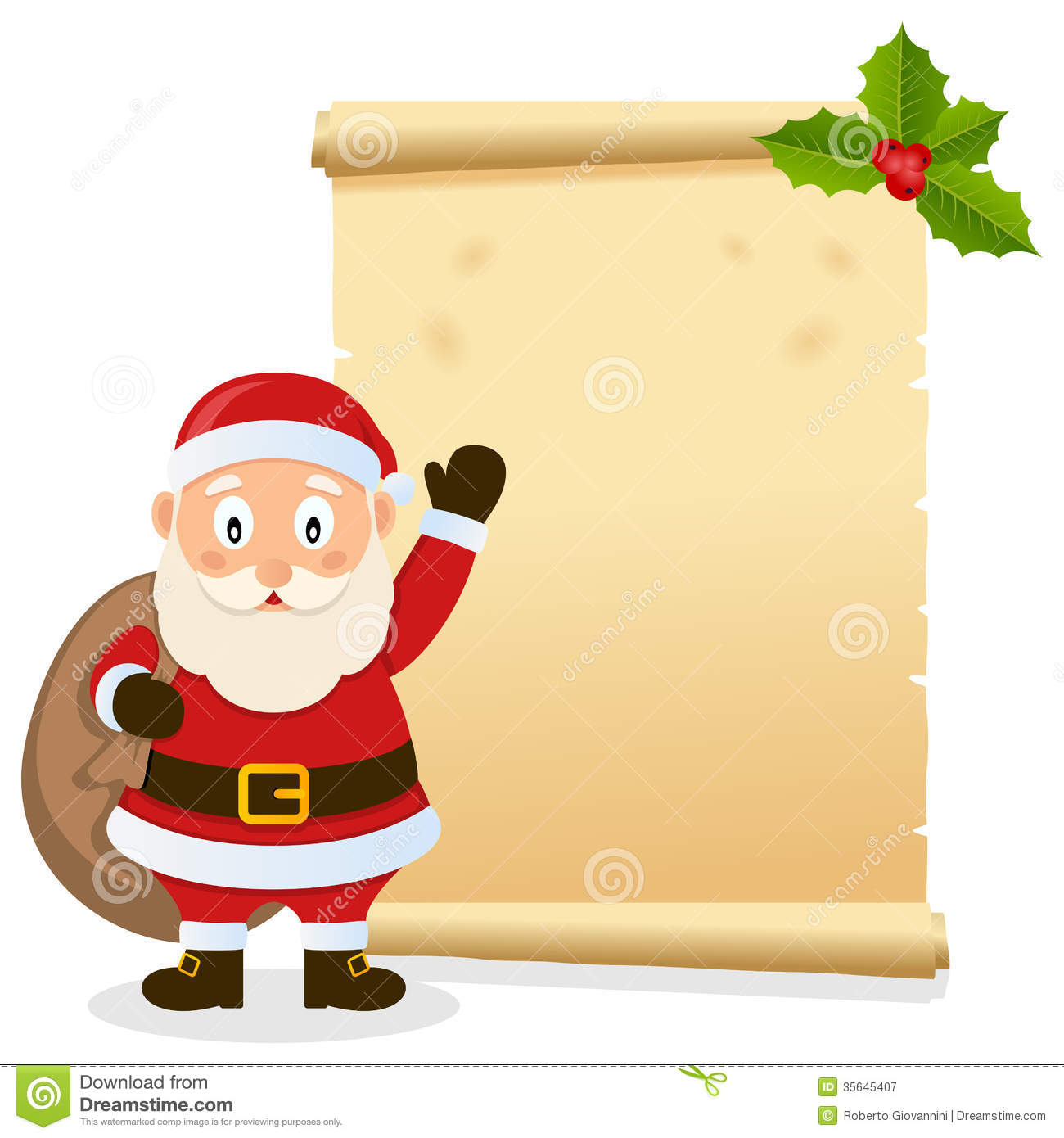 Christmas invitation card with Santa Claus holding the sack of the ...