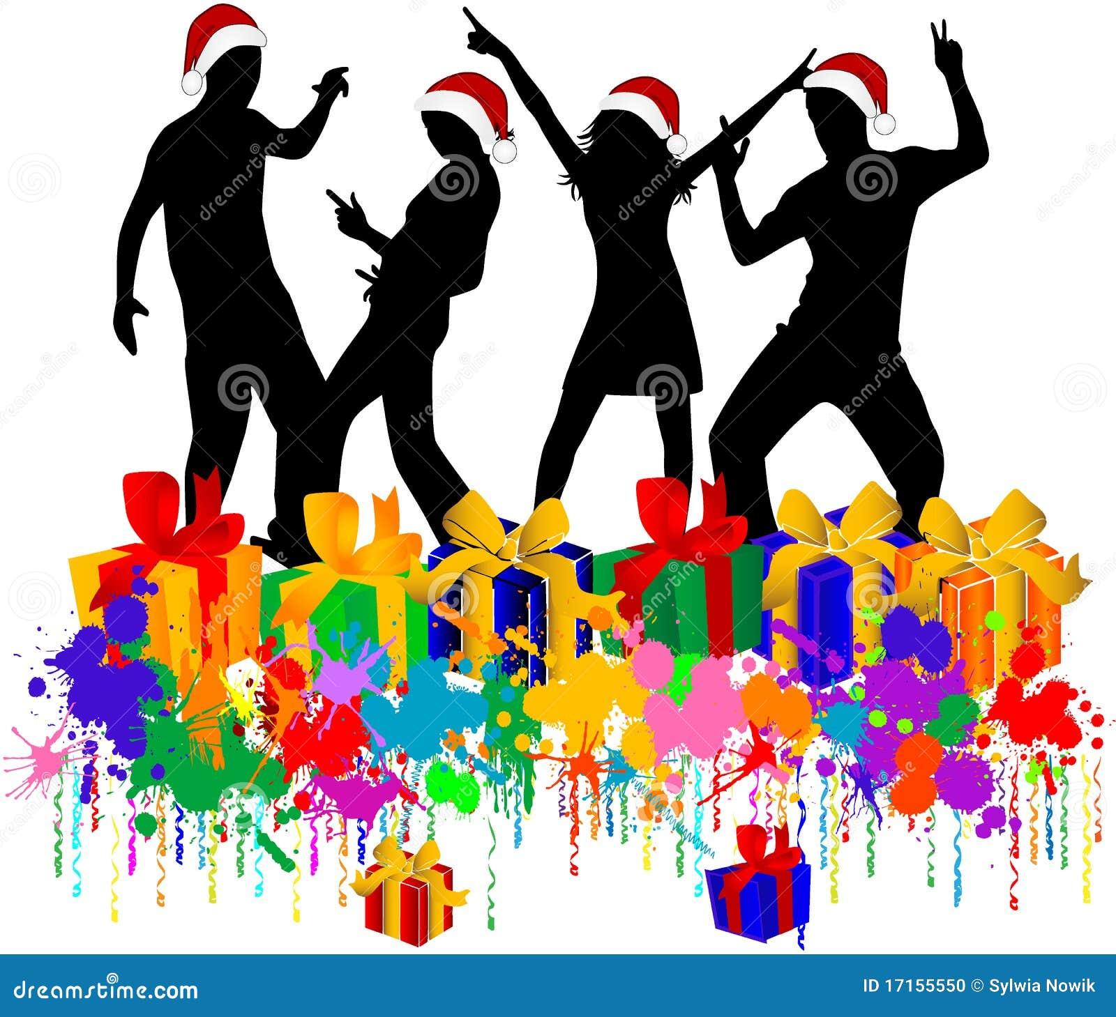 Christmas Party,Dancing men in Santa Claus hats.