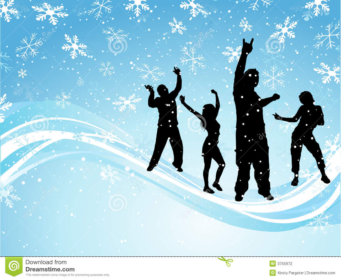 Silhouettes of people dancing on snowflake background.