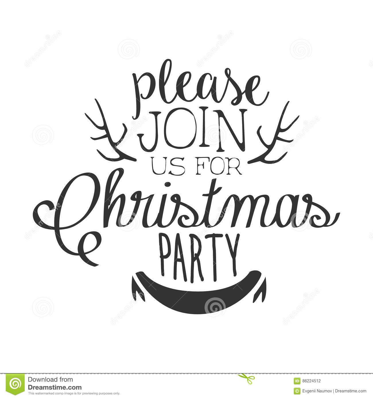 christmas party black and white invitation card design