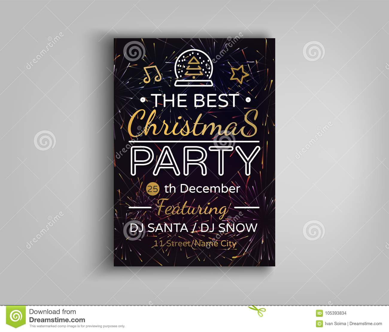 Christmas Party Brochure Vector Illustration Template