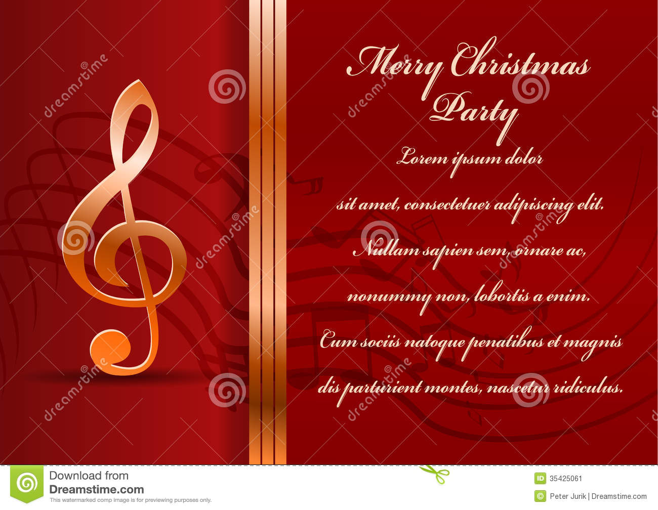 Christmas party card. stock vector. Illustration of concert - 35425061