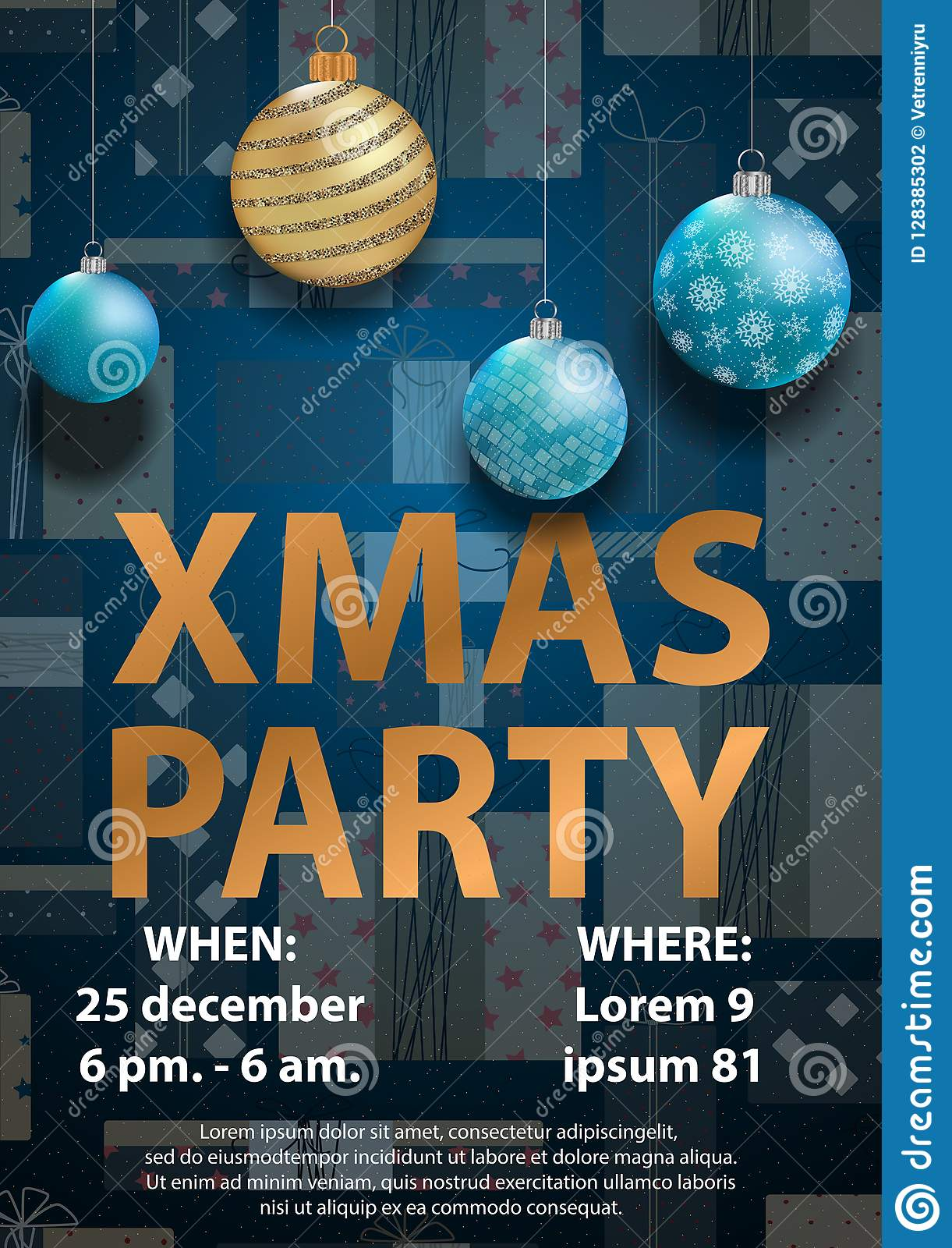 Blue Christmas Party Invitation Card For Your Design Stock Vector