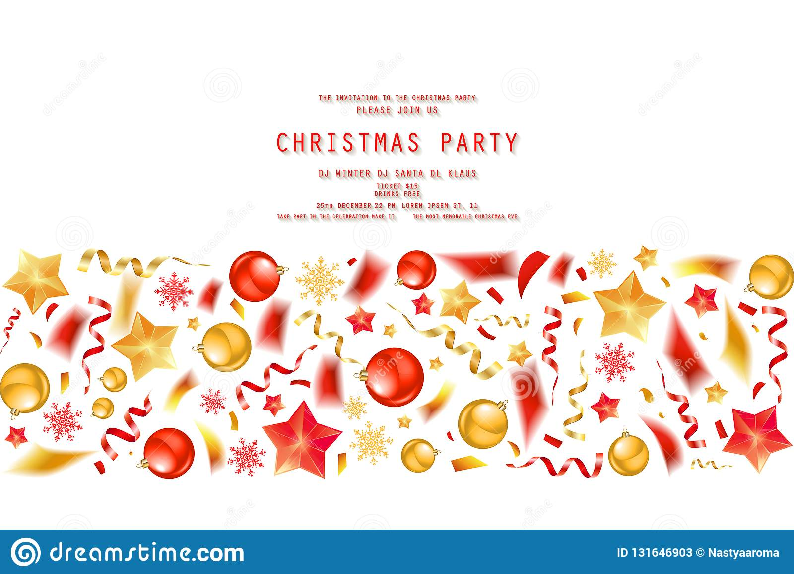 Christmas Party Or Dinner Invitation Stock Illustration