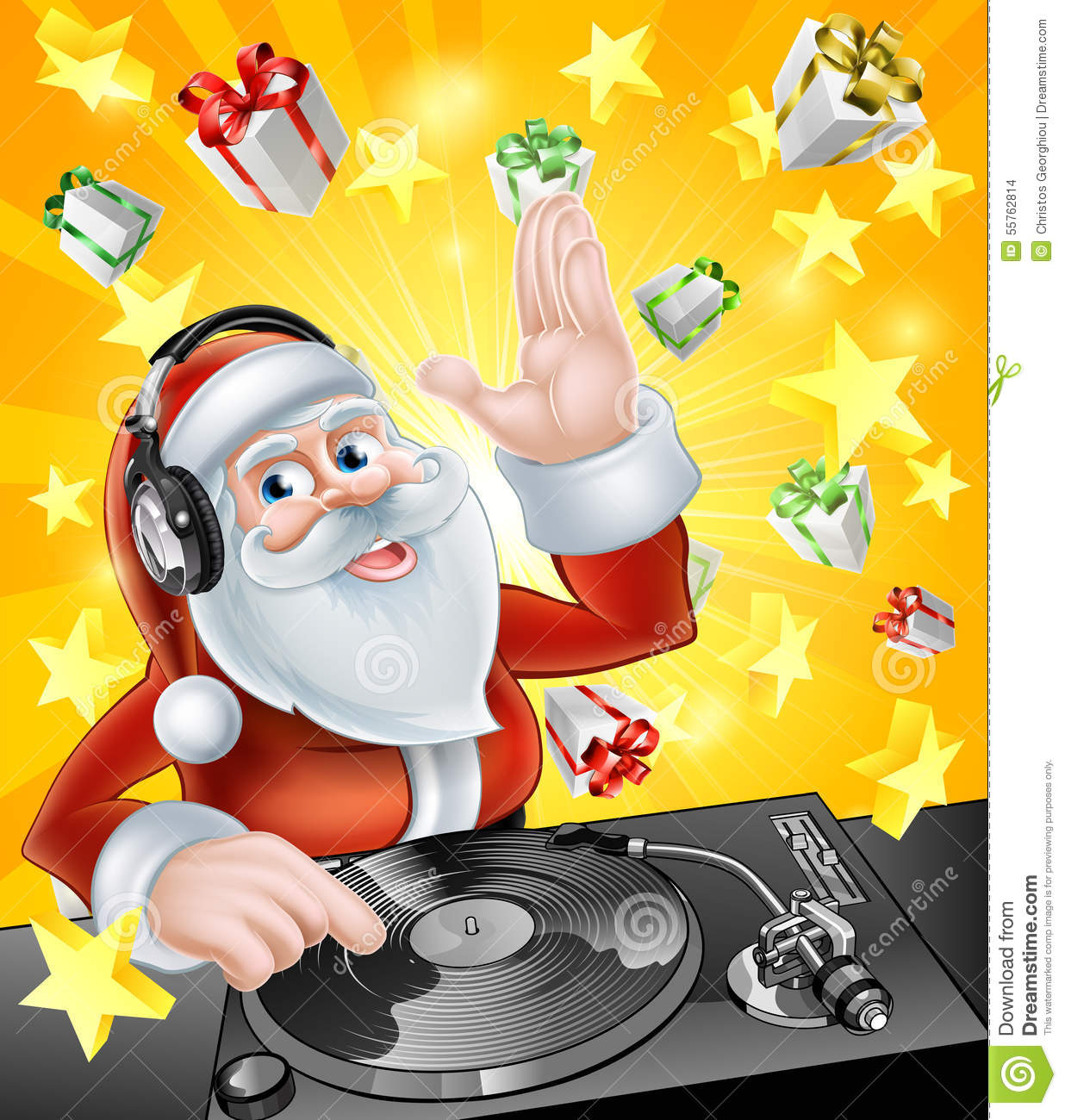 christmas party dj santa stock vector illustration of. Black Bedroom Furniture Sets. Home Design Ideas