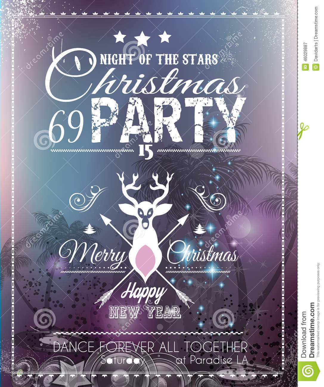 christmas party flyer for club and disco events  stock