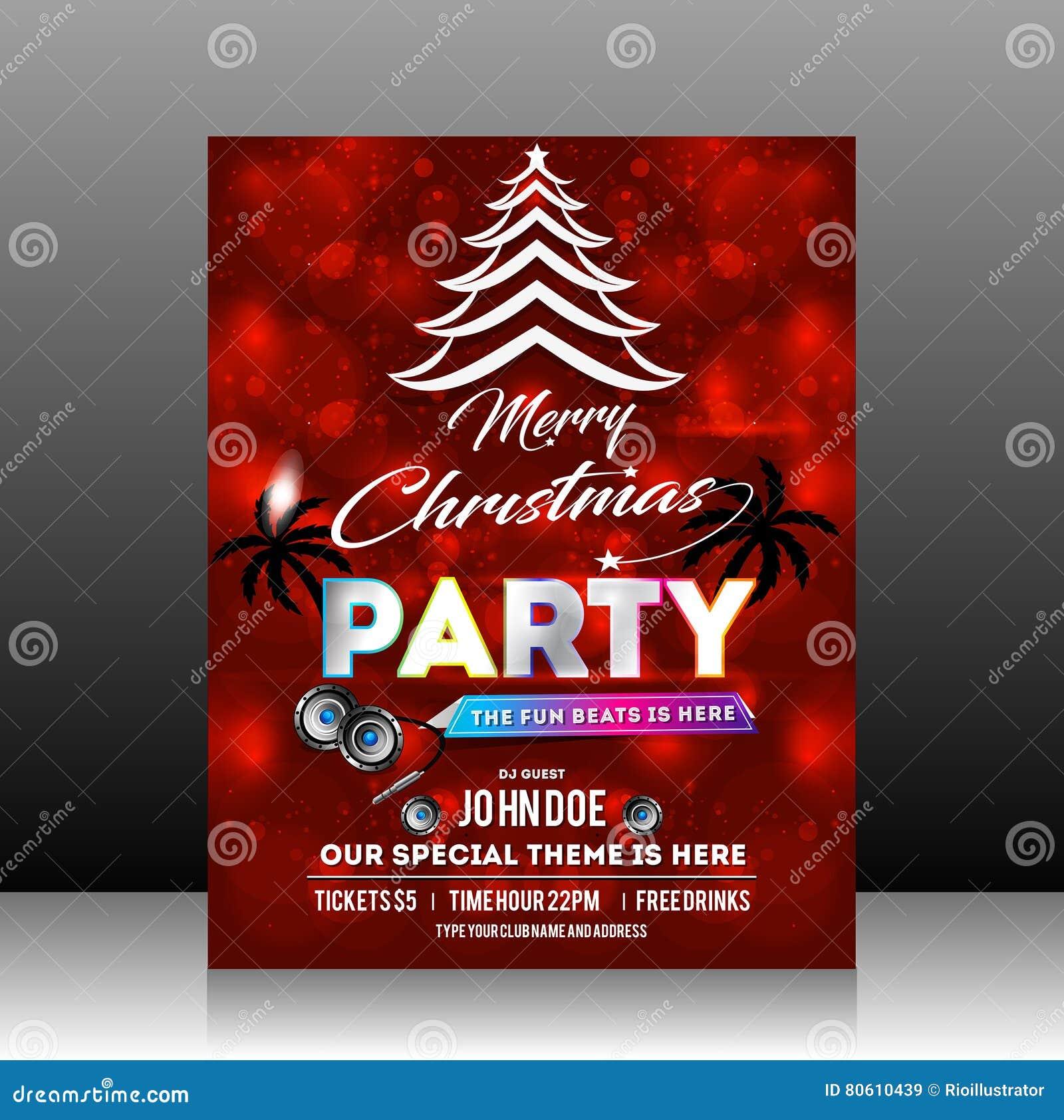 christmas party flyer design stock vector image  christmas party flyer design