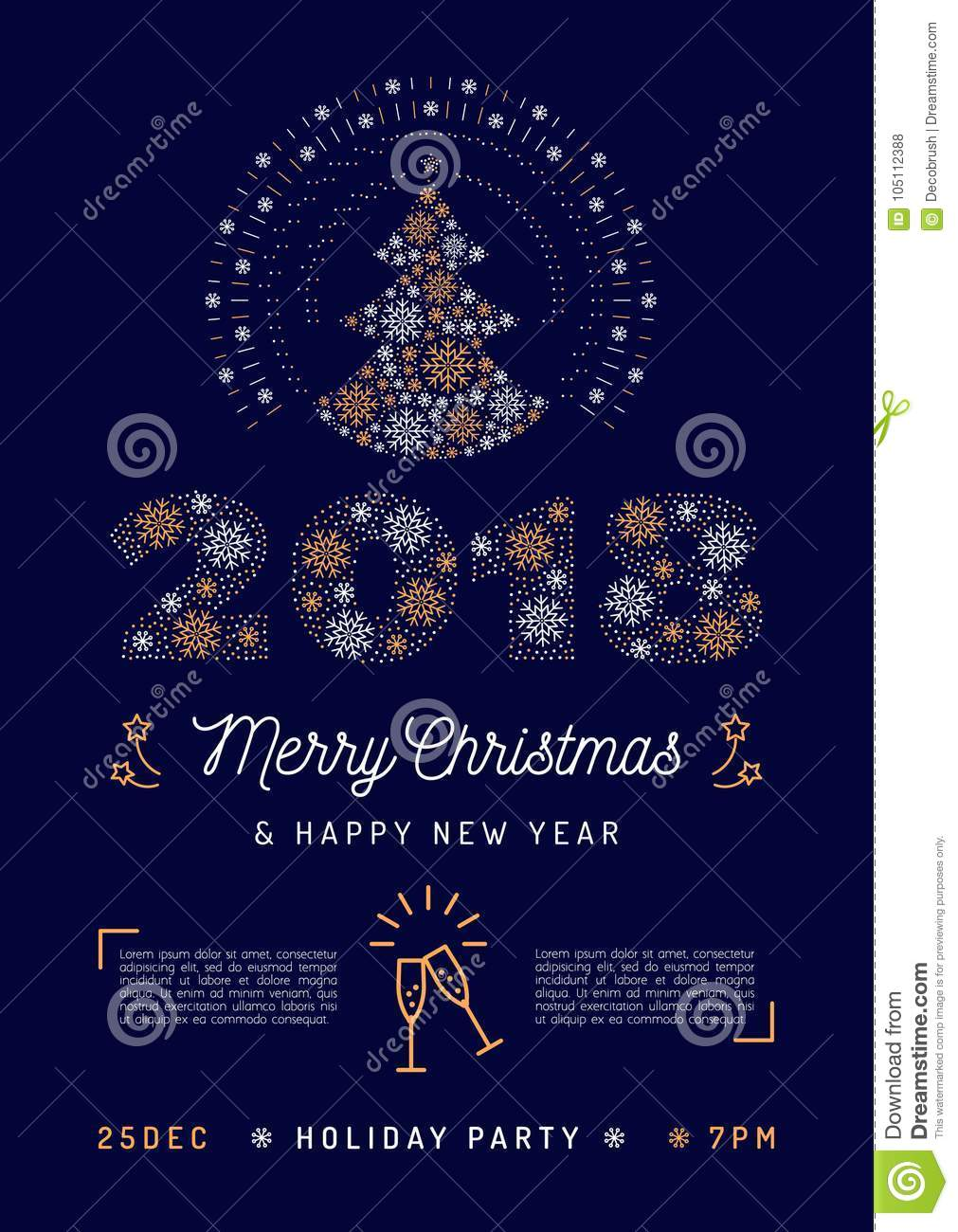 christmas party flyer holiday 2018 printable invitation christmas and happy new year greeting poster