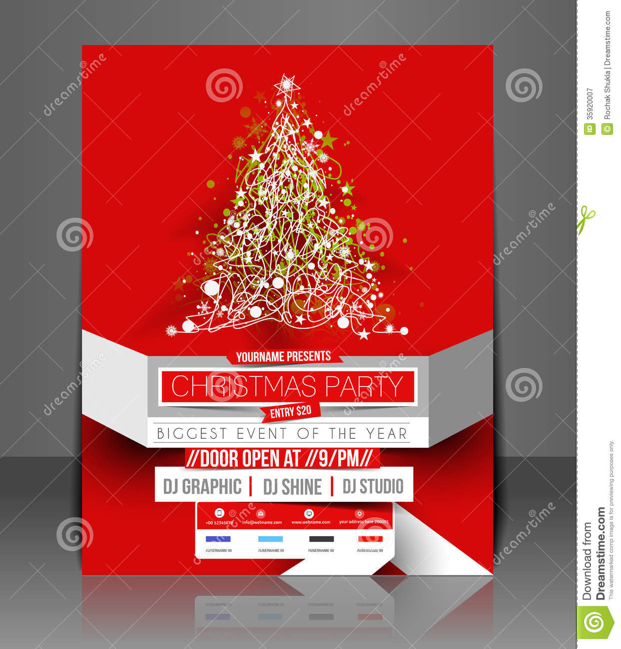 Christmas Party Flyer Royalty Free Stock Photography - Image: 35920007