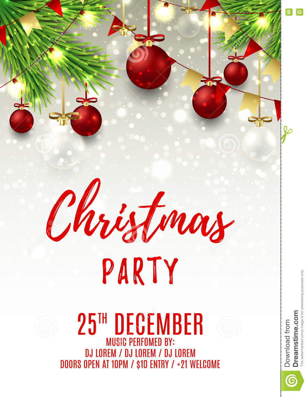 Christmas Party Flyer.Christmas Party Flyer Template Stock Vector Illustration