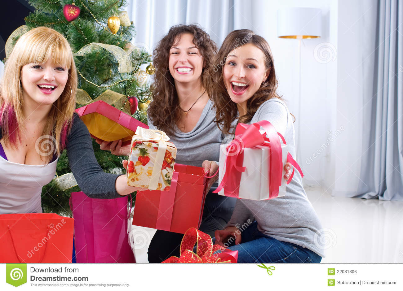 Christmas Party. Friends With Christmas Gifts Stock Photo - Image of ...