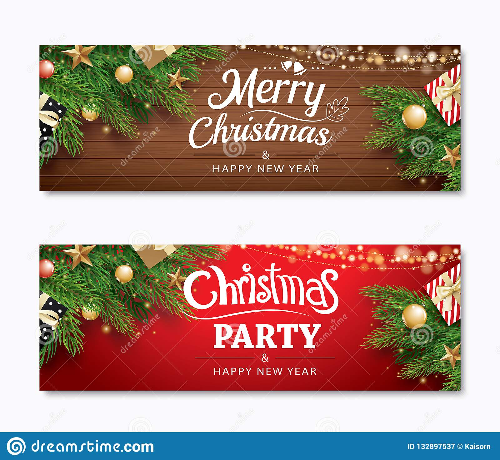 Christmas Party And Greeting Card With Holiday Decoration