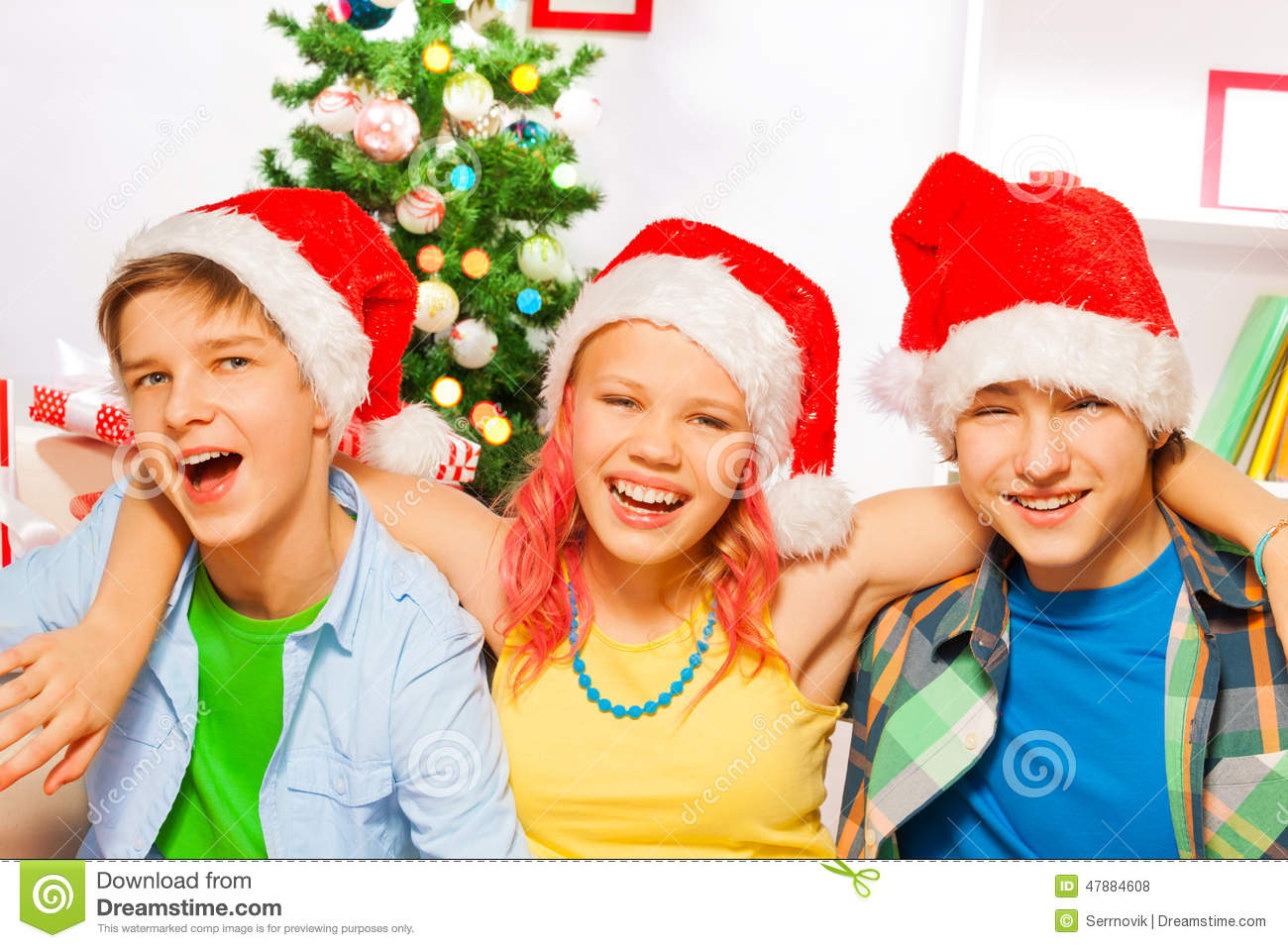 Christmas Party With Happy Teens Stock Photo - Image: 47884608