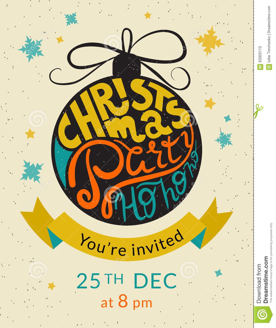 Christmas Party Ho Invitation Template Stock Vector