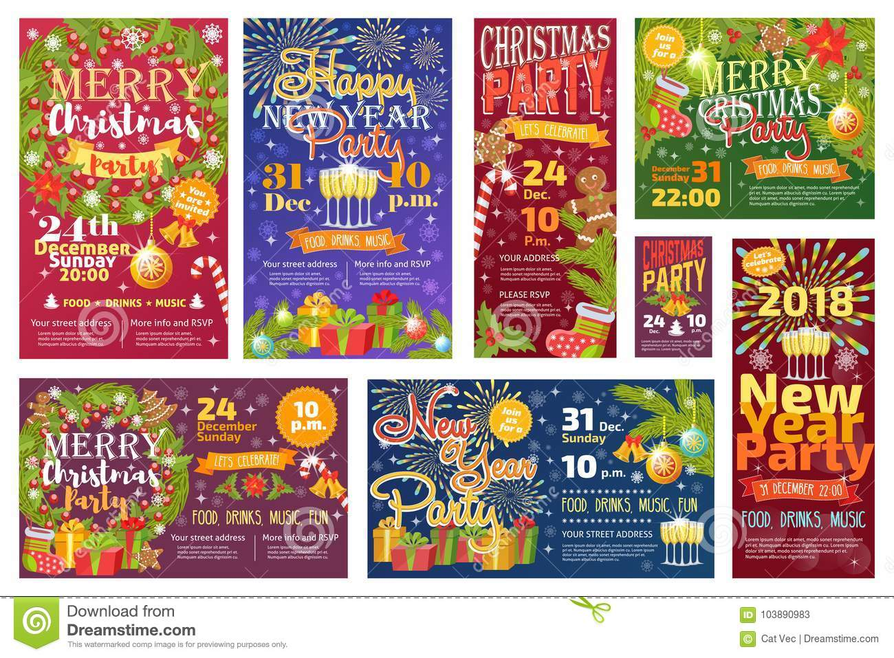 christmas party invitation vector card background design template for noel xmas holiday celebration clipart new year