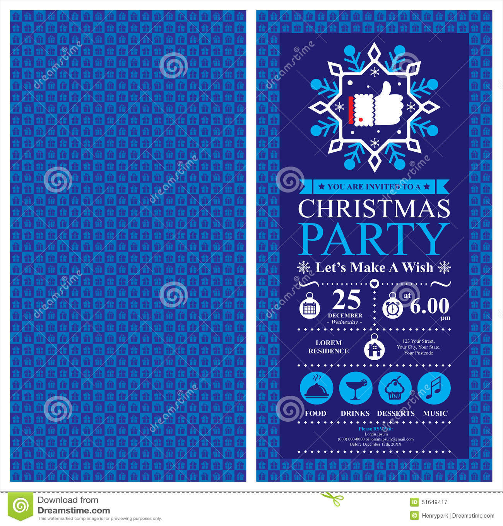 Christmas Party Invitation Card Stock Vector Illustration
