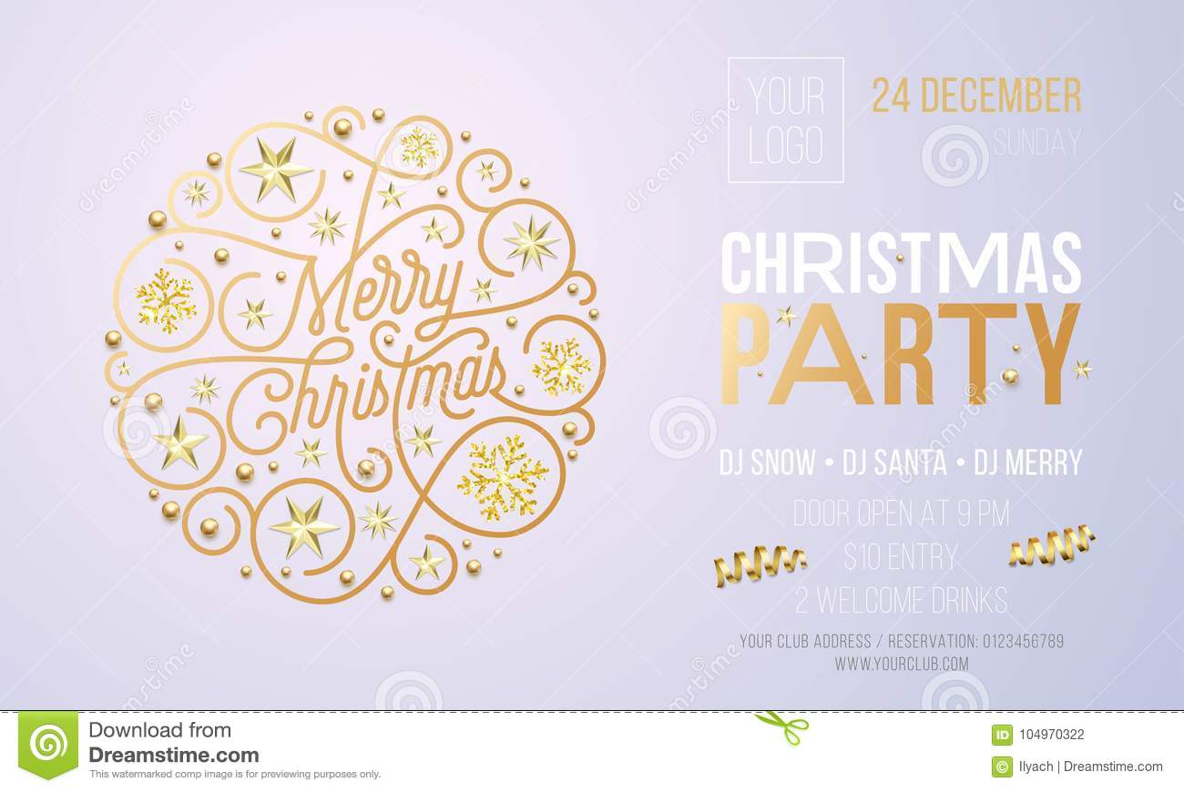 christmas party invitation card or poster of golden new year decoration for holiday event design template