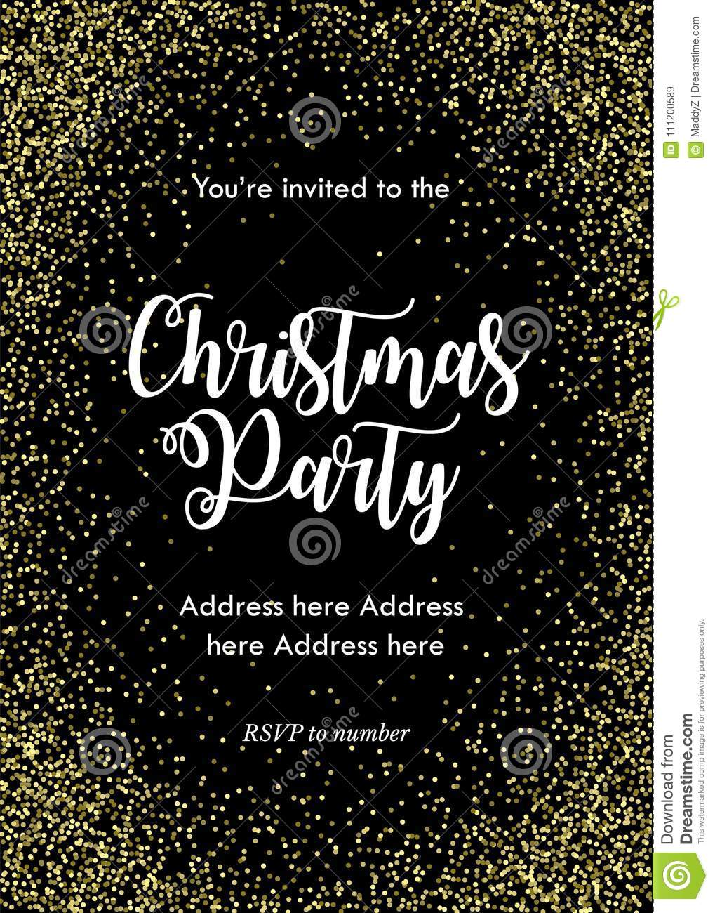 christmas party invitation card, template. black with golden