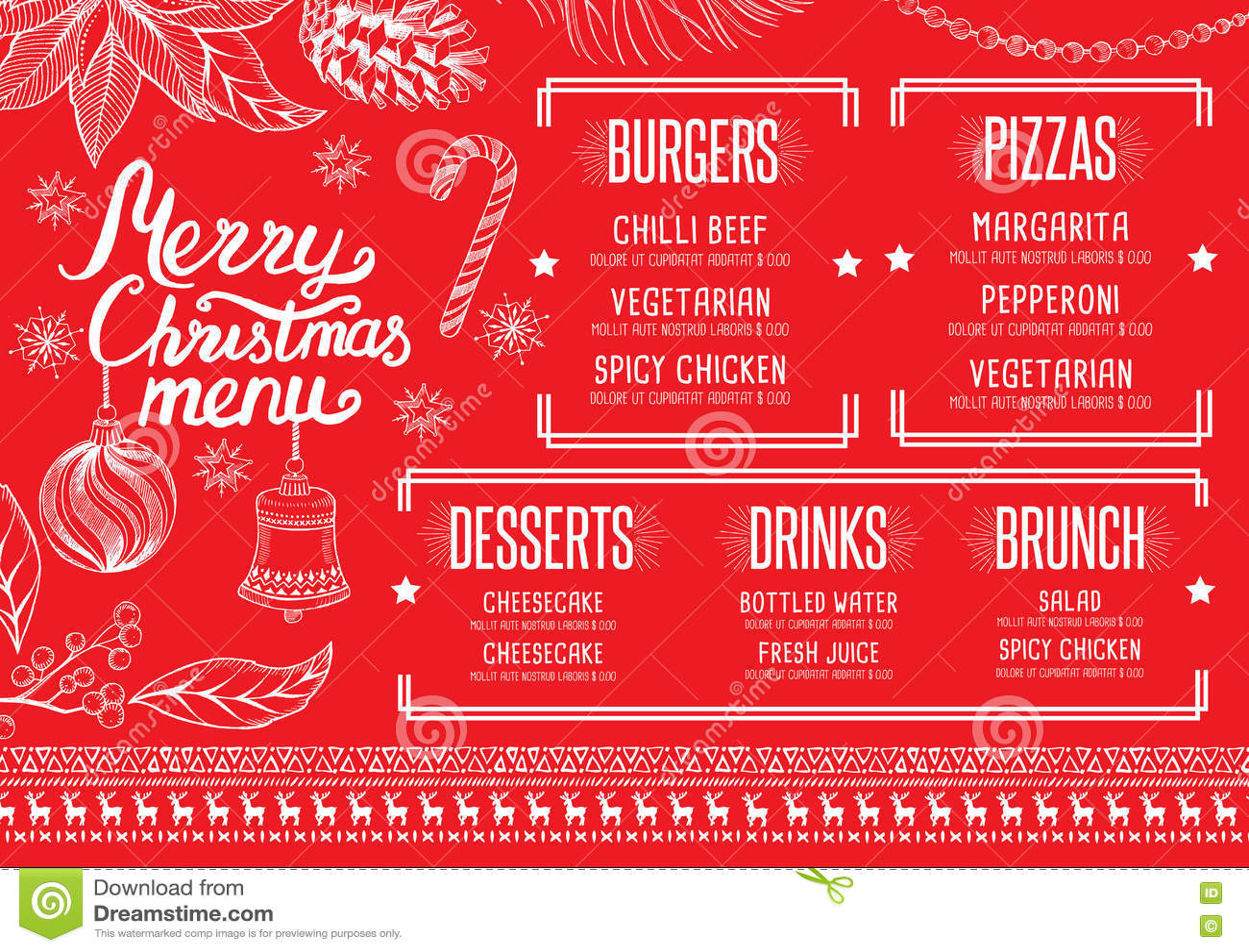 download christmas party invitation food menu restaurant stock vector illustration of blackboard