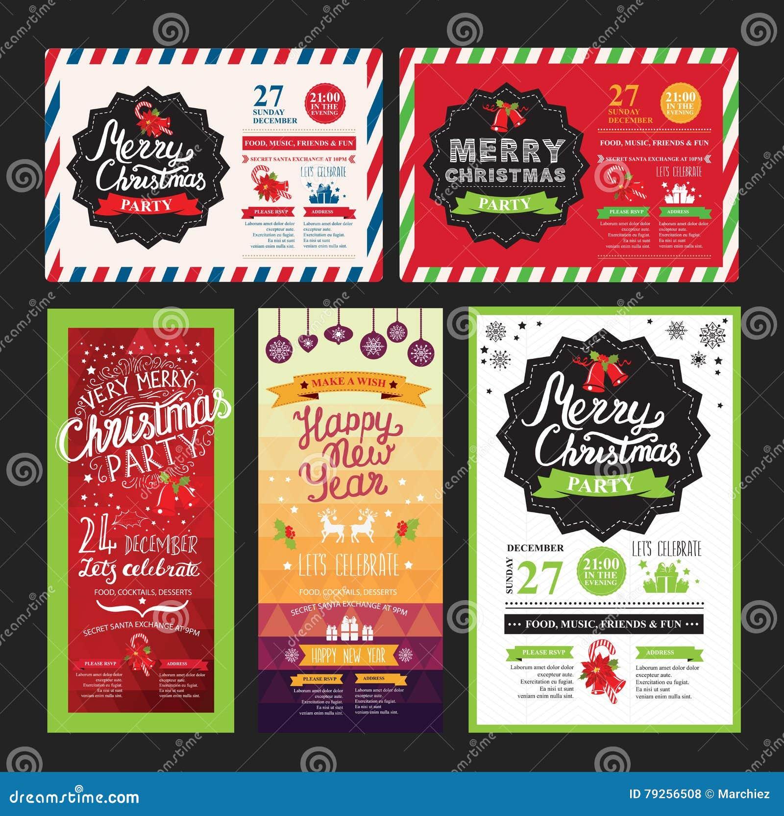 christmas party invitation  food menu restaurant  vector