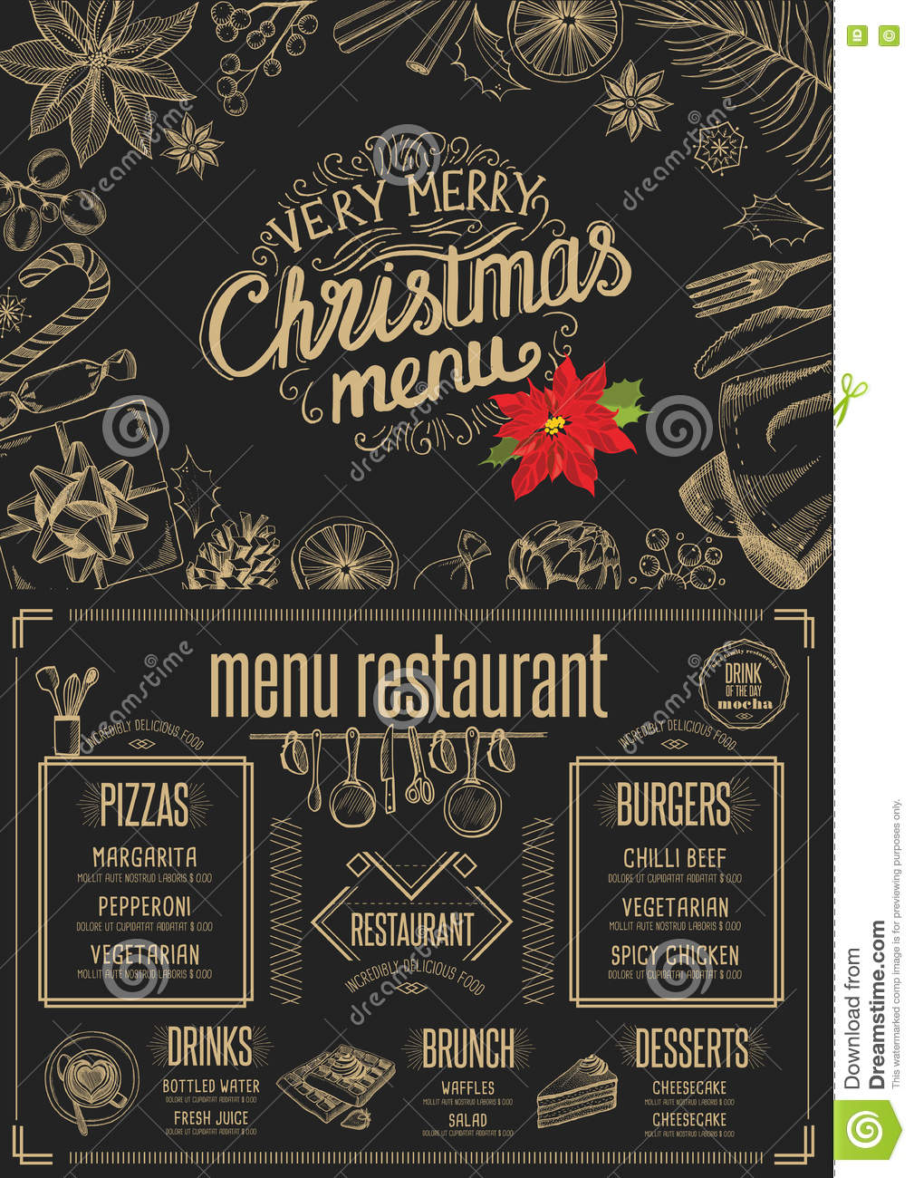 Christmas Party Invitation, Food Menu Restaurant. Stock Vector ...
