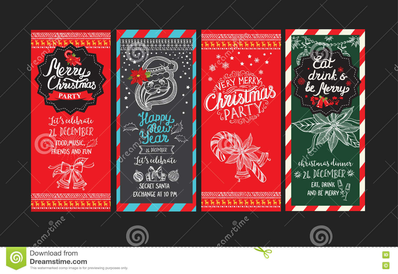 christmas restaurant brochure menu template vector holiday background and design banner happy new year party flyer with hand drawn xmas graphic