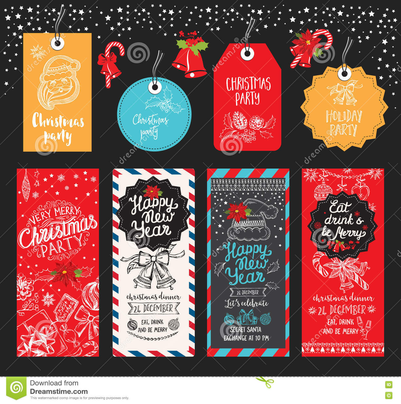 christmas party invitation food menu restaurant stock vector