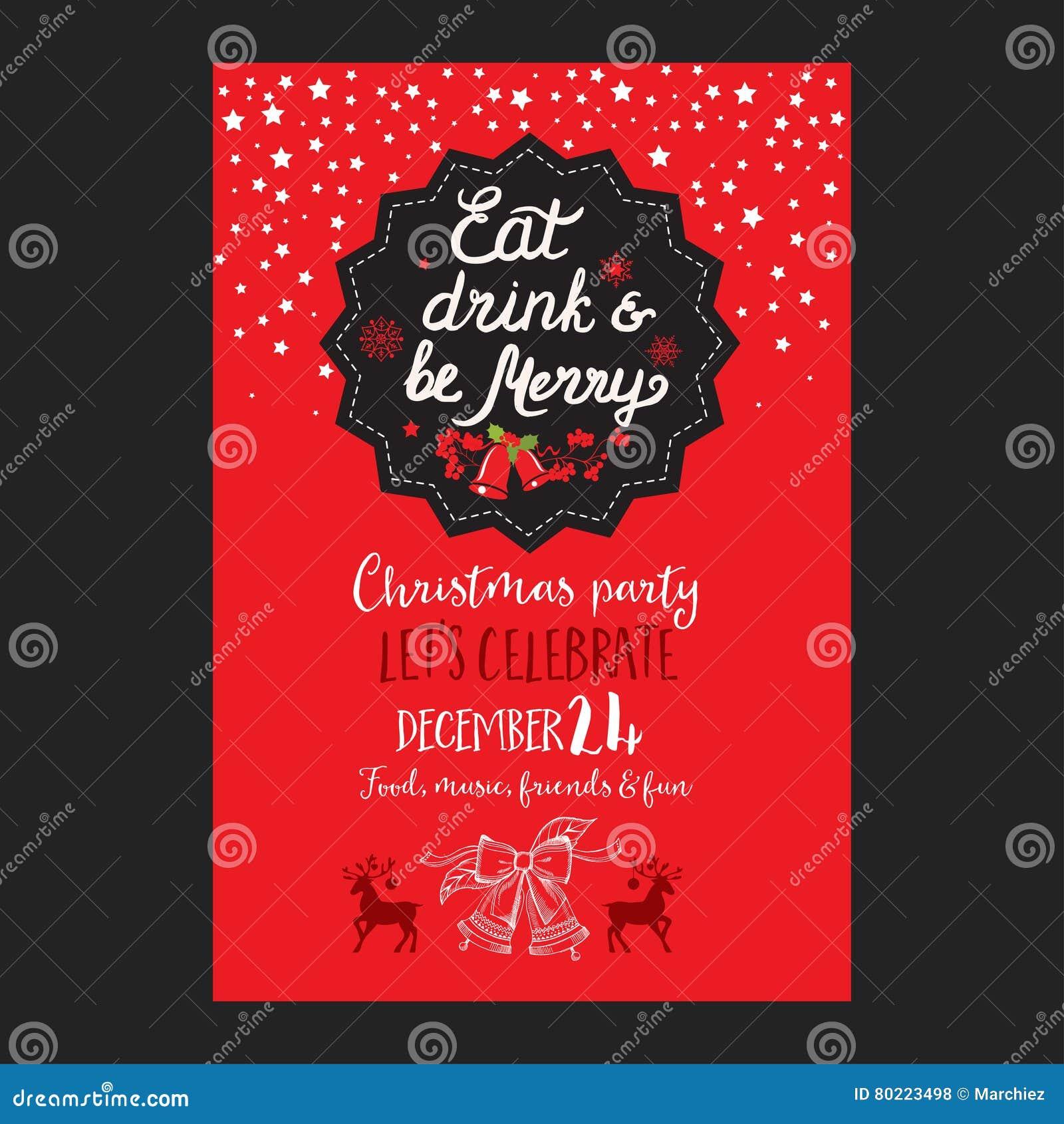 Christmas Party Invitation, Food Menu Restaurant. Stock Vector ...