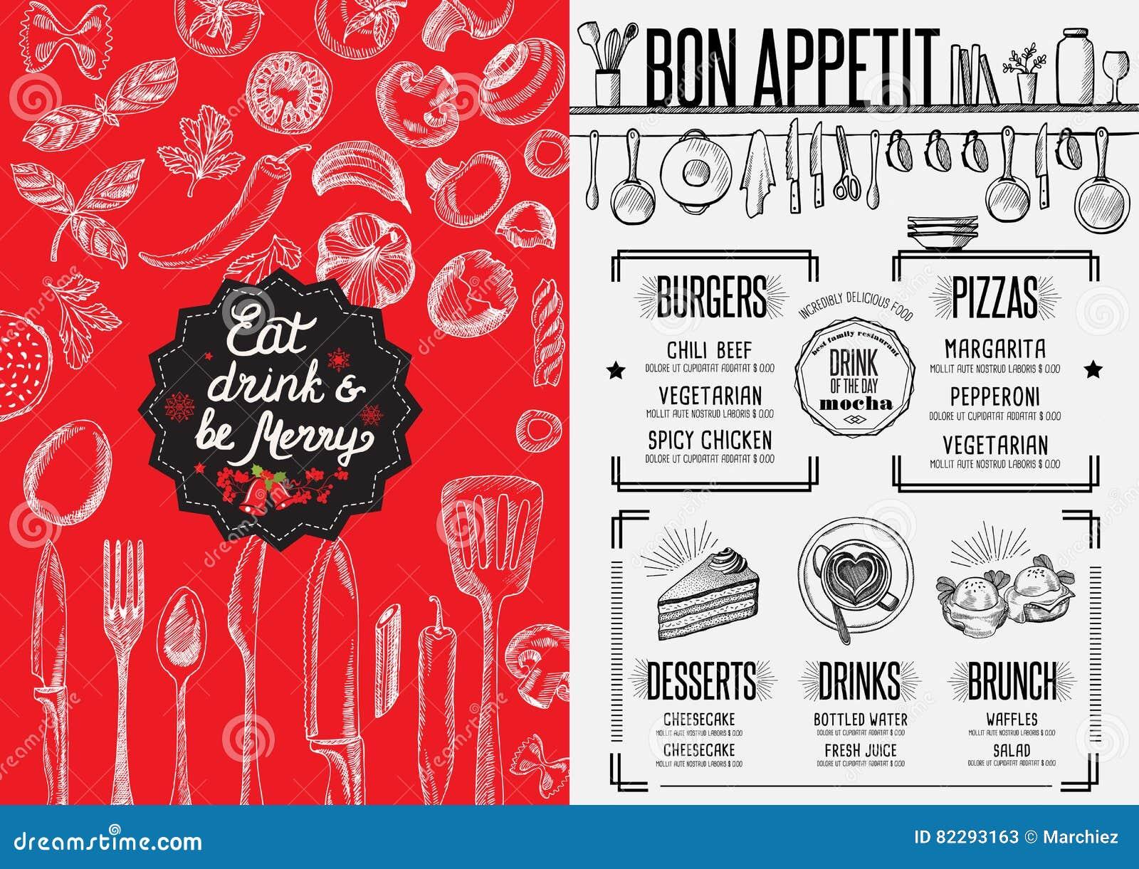 christmas party invitation food menu restaurant