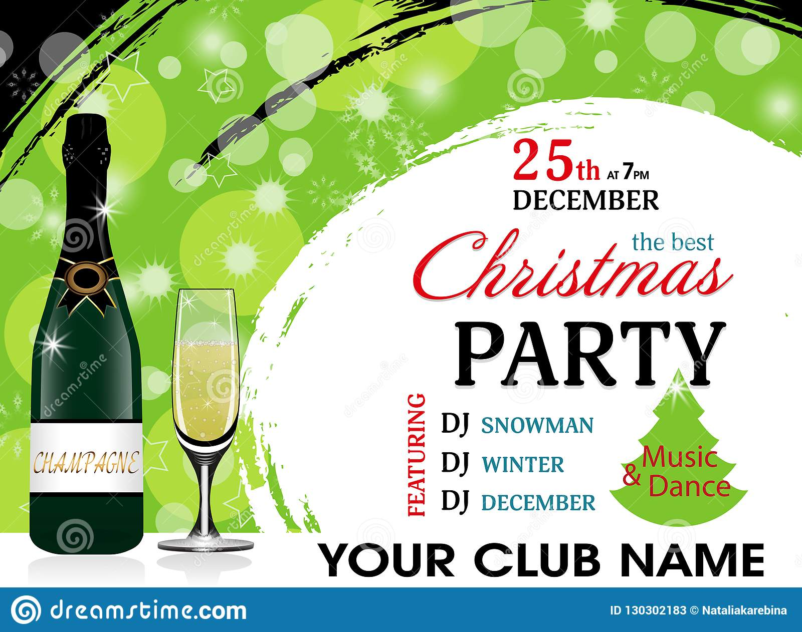 christmas party invitation green template with champagne bottle and wineglass new year background vector
