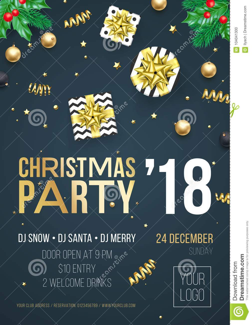 christmas party 2018 invitation poster design template of golden new year decoration and gold glitter christmas
