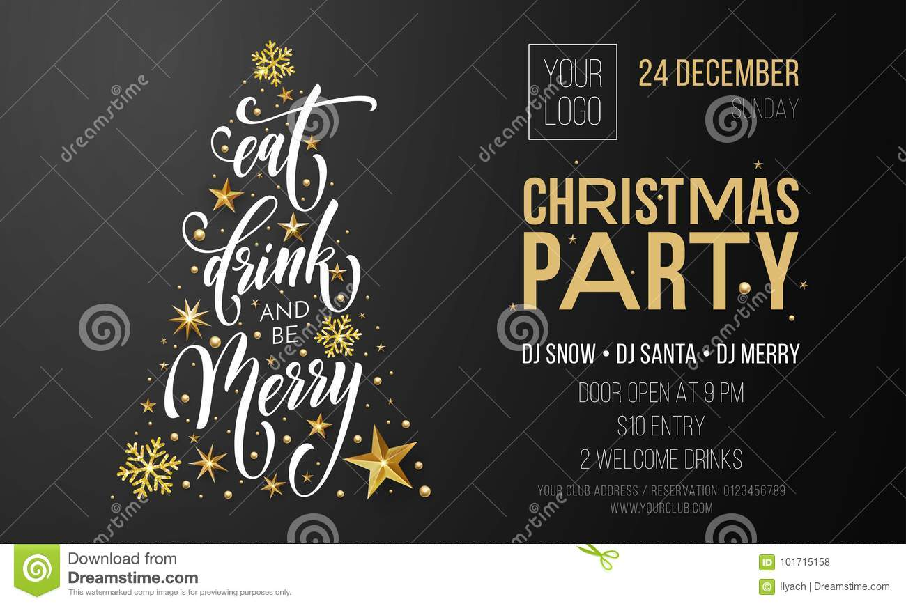 merry christmas party poster banner vector golden decoration snowflake new year background