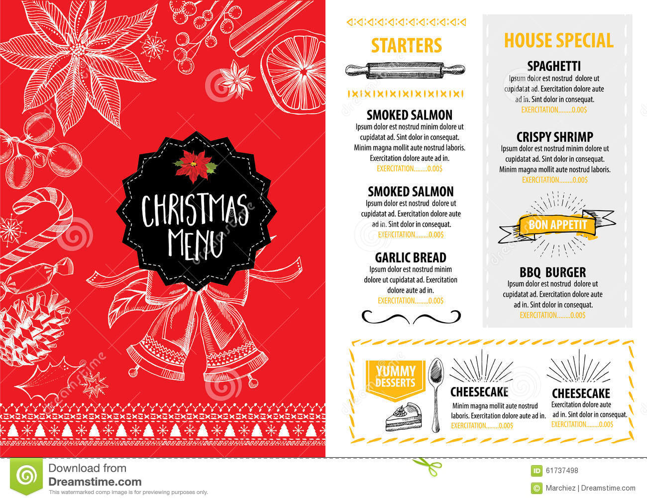Christmas Party Invitation Restaurant Food Flyer Vector – Party Invitation Flyer