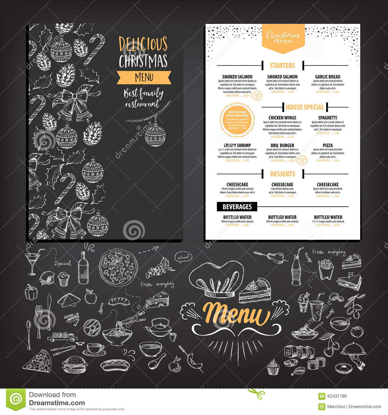 Christmas party invitation restaurant food flyer stock vector download christmas party invitation restaurant food flyer stock vector illustration of doodle stopboris Images