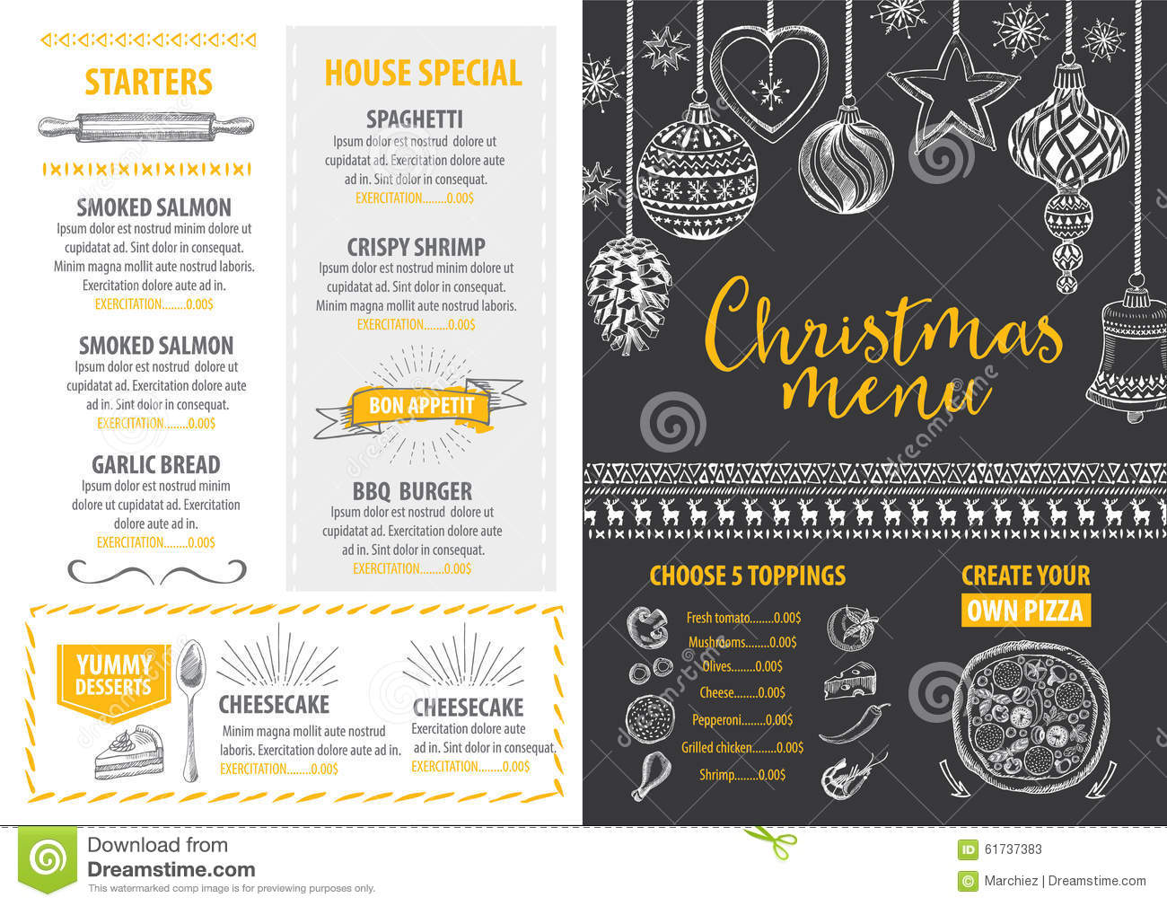 Christmas Party Invitation Restaurant Food Flyer Stock Vector