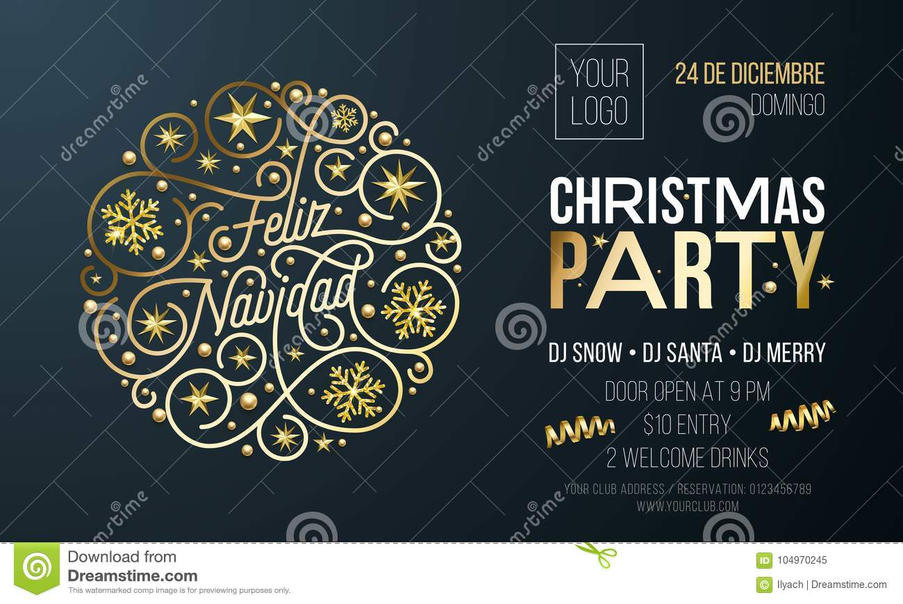 christmas party invitation for spanish feliz navidad holiday celebration design template vector new year or