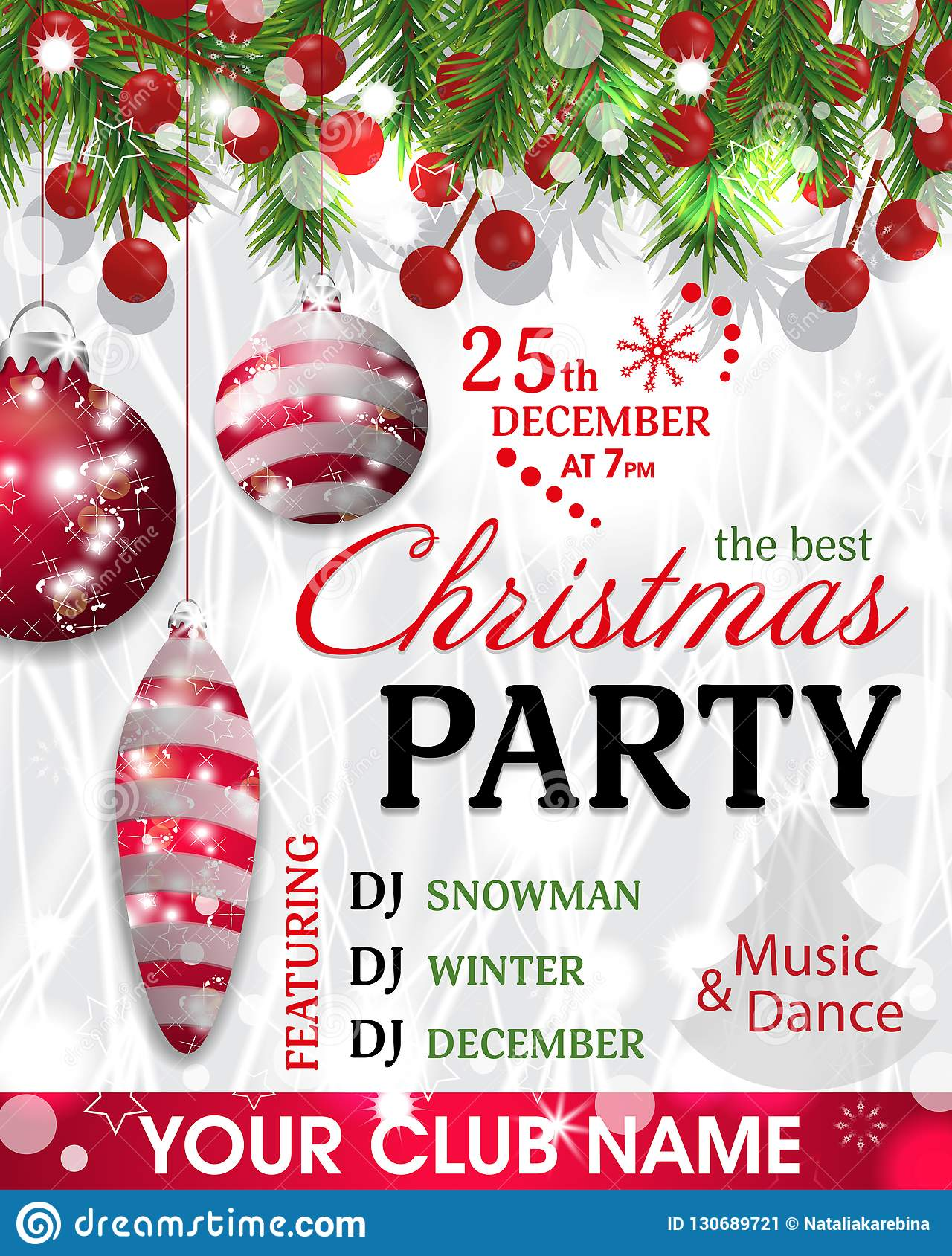 Christmas Party Flyer Template.Christmas Party Invitation Template Background With Fir