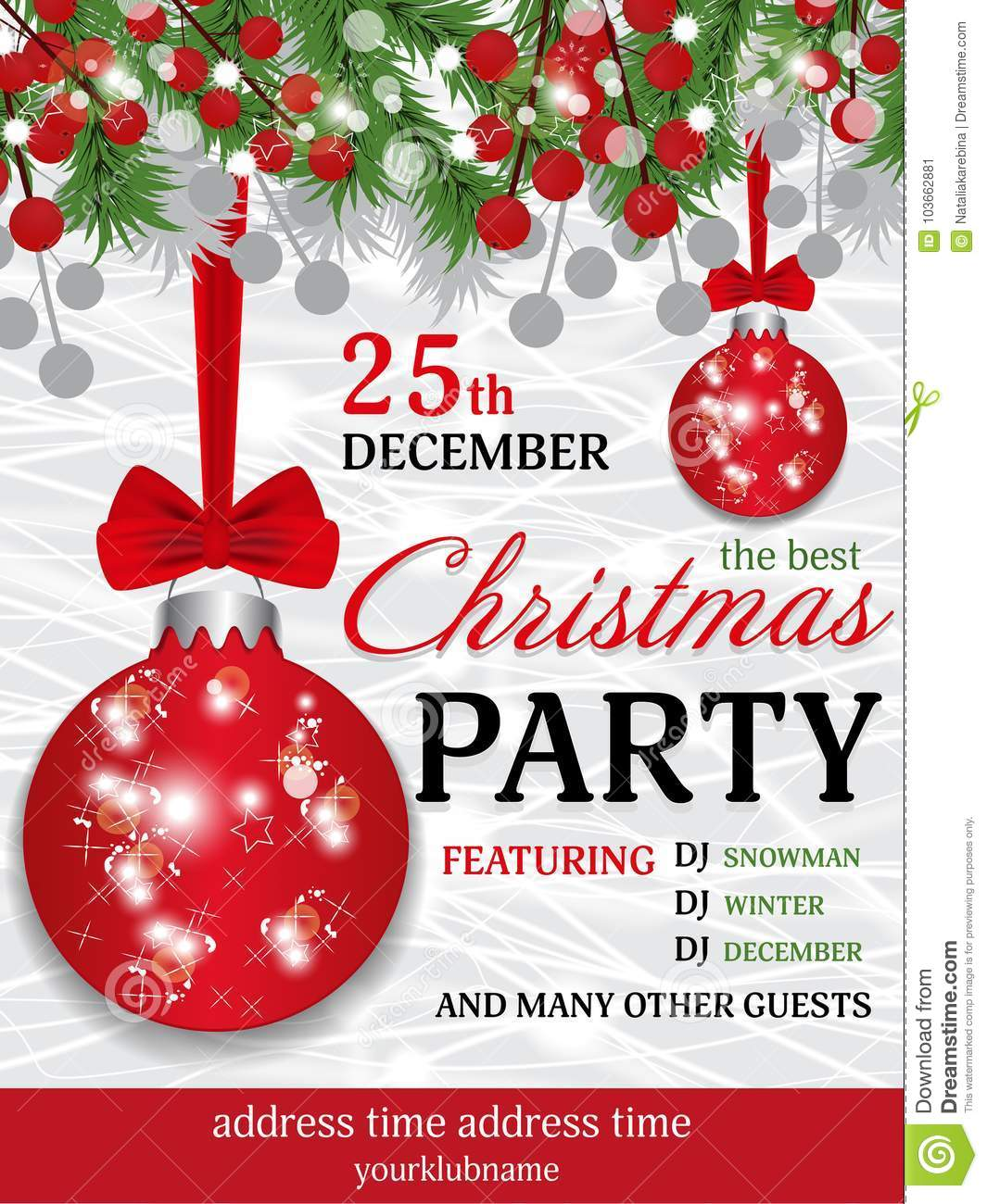 Christmas Party Invitation Template Background With Fir Branches And ...