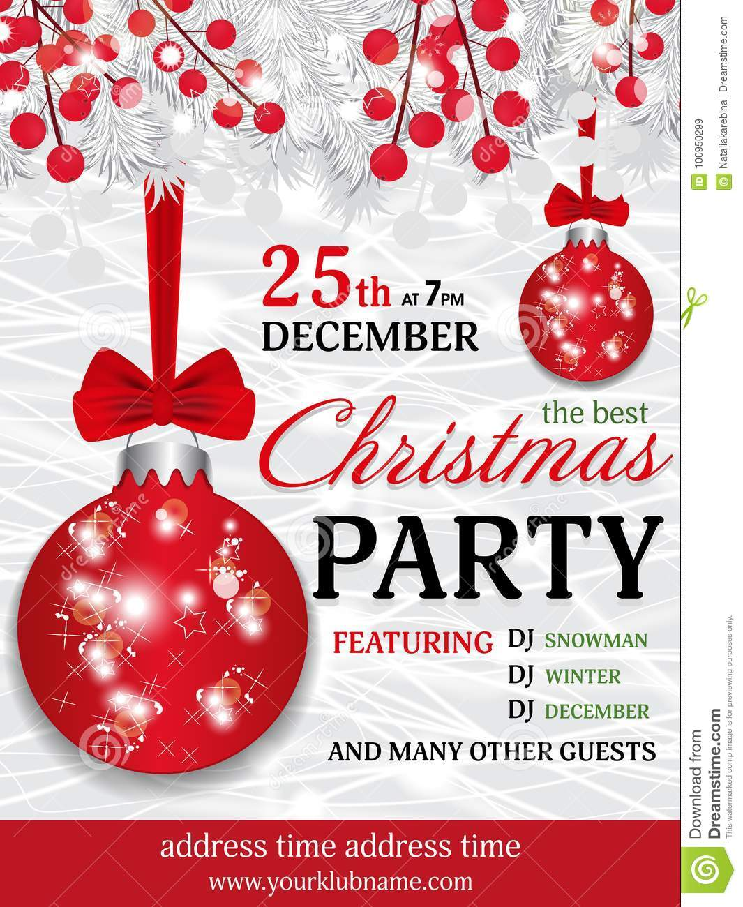 Christmas Party Invitation Template Background With Fir White Br ...
