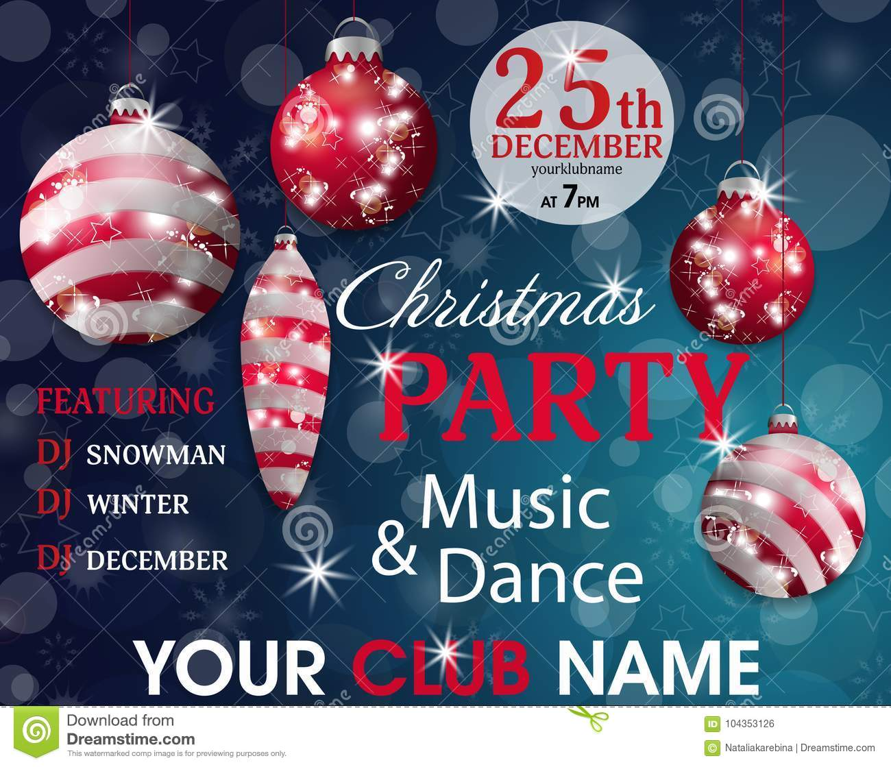 Christmas Party Invitation Template Blue Background With Red Baubles