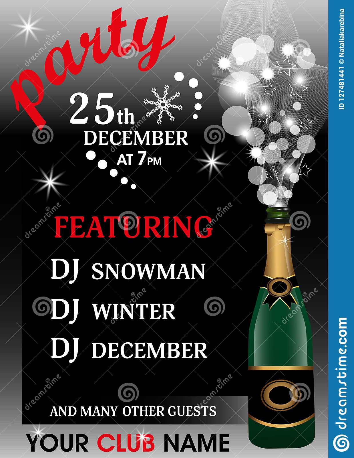 christmas party invitation template with champagne bottle new year background vector