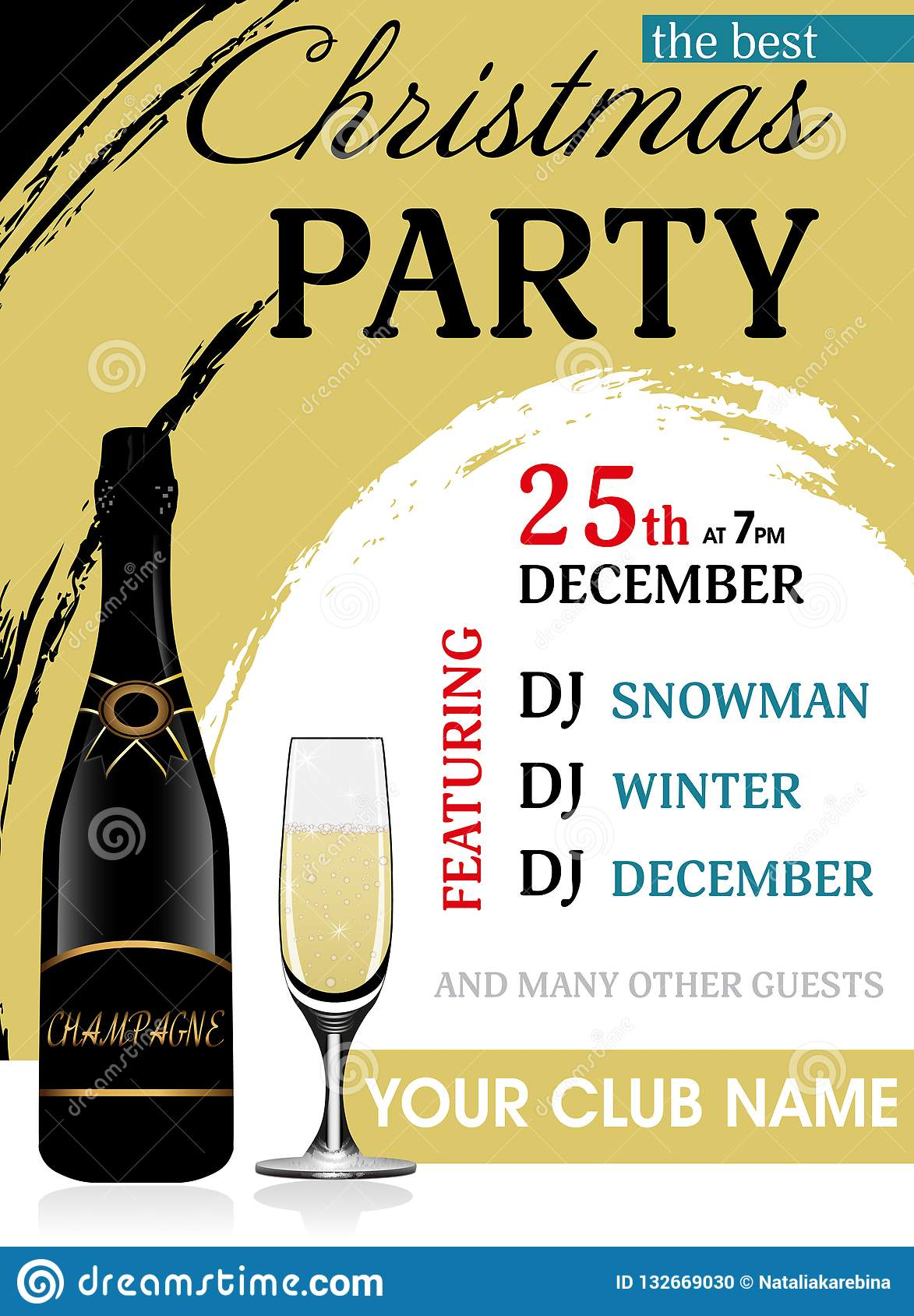 christmas party invitation template with champagne bottle and wineglass vertical new year background vector