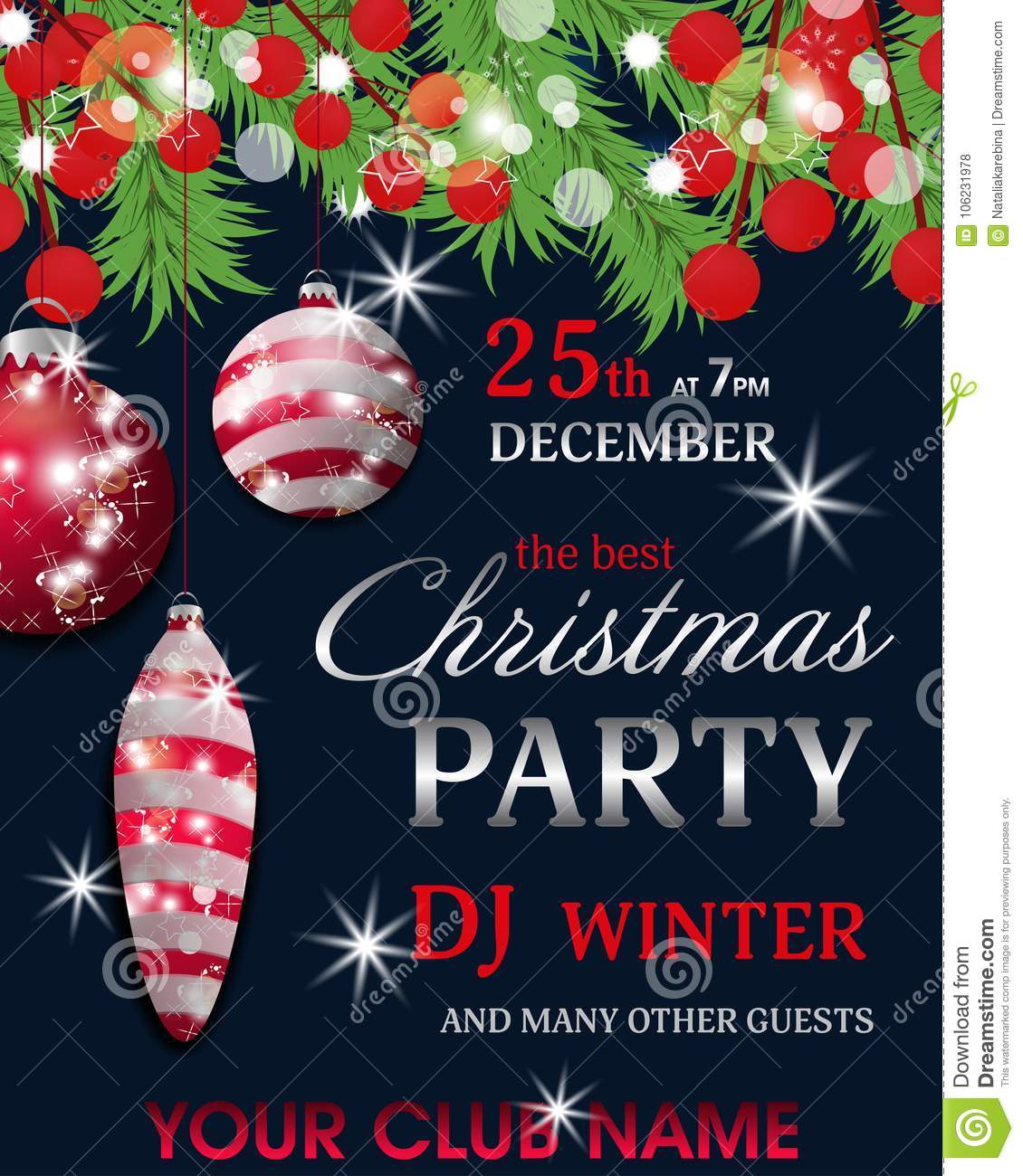 Christmas Party Invitation Template Dark Blue Background With Fir