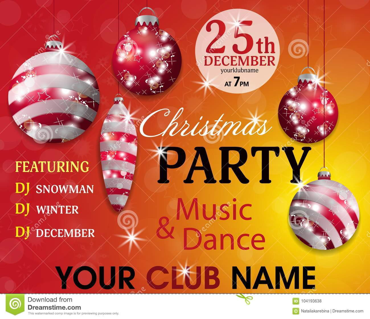 Christmas Party Invitation Template Red And Yellow Background With ...