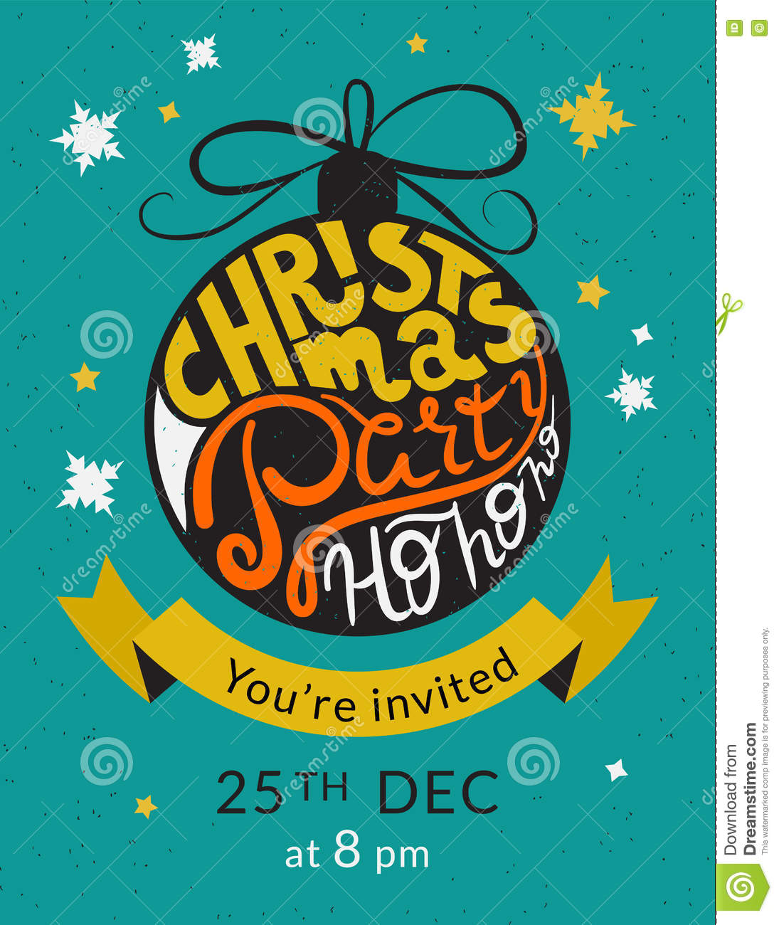 christmas party invitation template stock vector illustration of