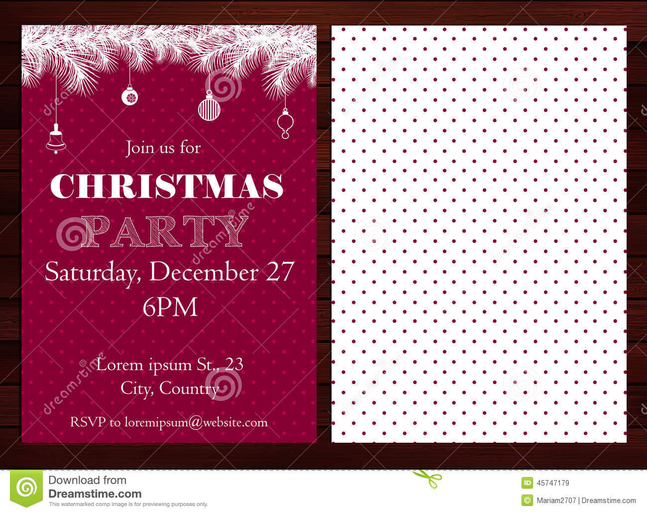 flat design christmas party invitation tree stock vector image christmas party invitation royalty stock images