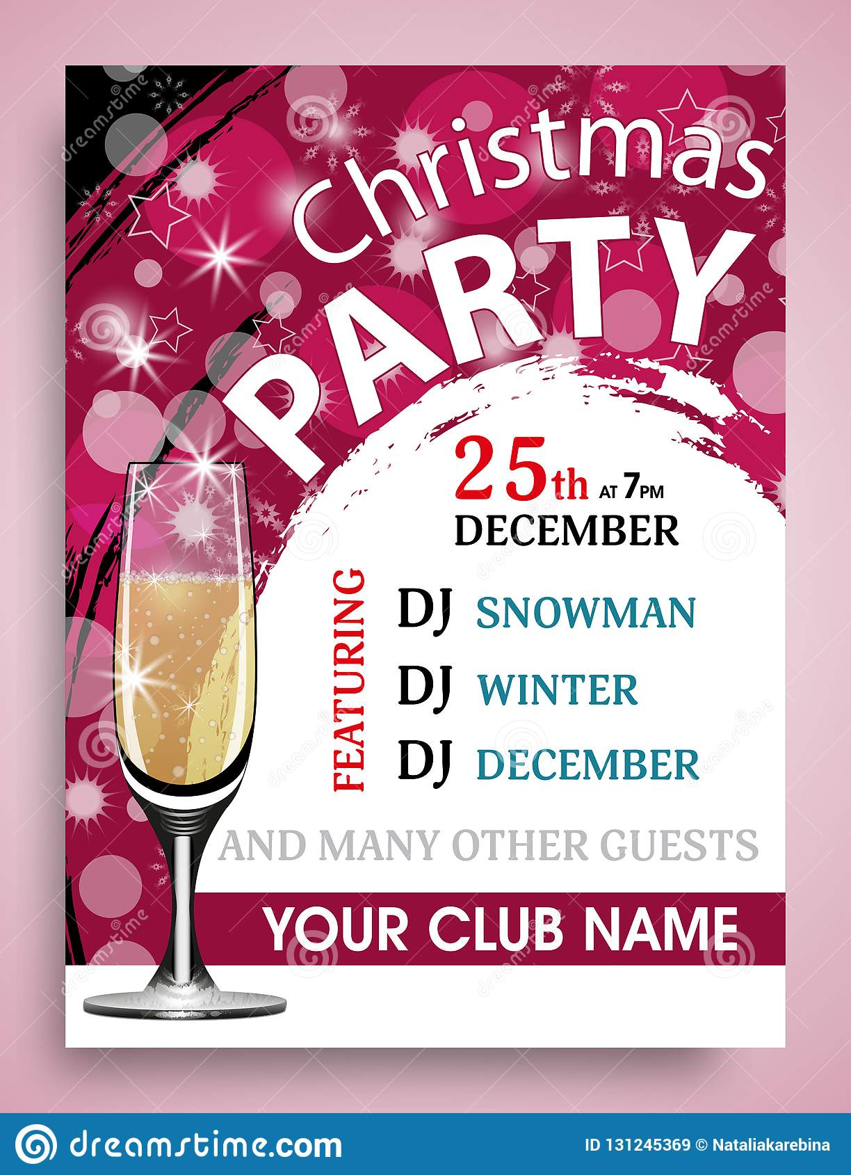 christmas party invitation vertical template with champagne wineglass new year background vector